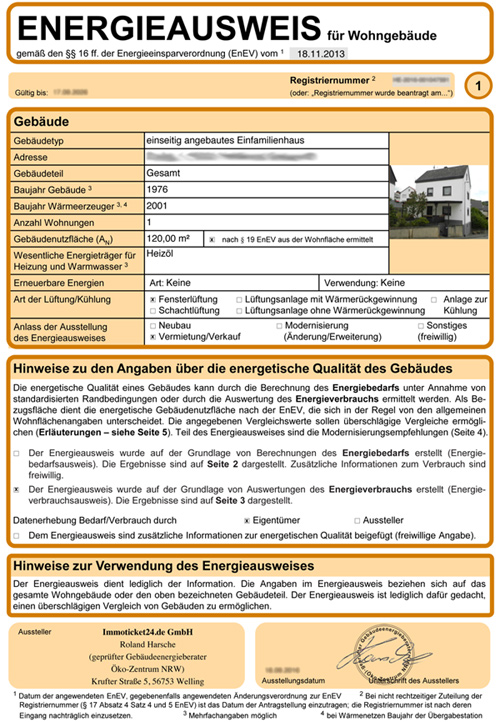 Muster Energieausweis Seite 1